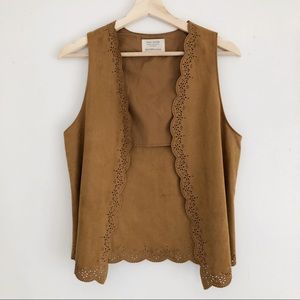 ZARA Suede-like Vest with Scalloped Edge